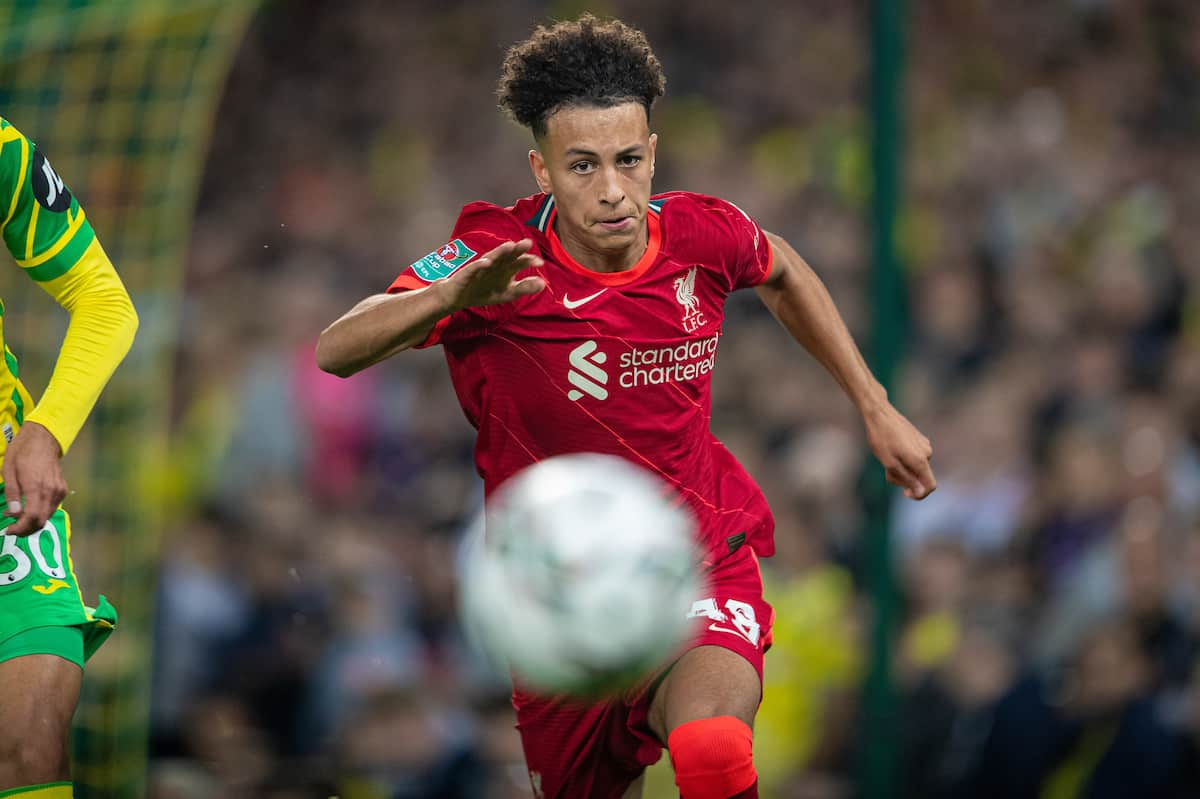 NORWICH, ENGLAND - Tuesday, September 21, 2021: Liverpool's Kaide Gordon during the Football League Cup 3rd Round match between Norwich City FC and Liverpool FC at Carrow Road. (Pic by David Rawcliffe/Propaganda)