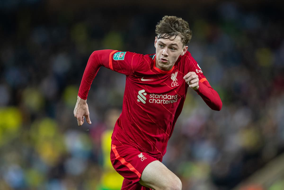 NORWICH, ENGLAND - Tuesday, September 21, 2021: Liverpool's Conor Bradley during the Football League Cup 3rd Round match between Norwich City FC and Liverpool FC at Carrow Road. (Pic by David Rawcliffe/Propaganda)
