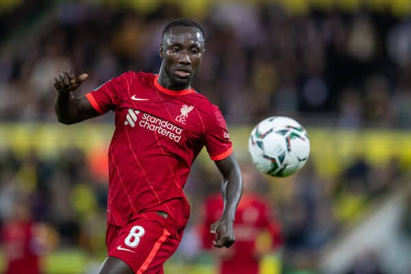 NORWICH, ENGLAND - Tuesday, September 21, 2021: Liverpool's Naby Keita during the Football League Cup 3rd Round match between Norwich City FC and Liverpool FC at Carrow Road. (Pic by David Rawcliffe/Propaganda)