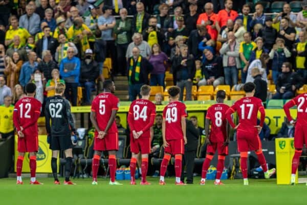 NORWICH, ENGLAND - Tuesday, September 21, 2021: Liverpool players with various squad numbers before the Football League Cup 3rd Round match between Norwich City FC and Liverpool FC at Carrow Road. (Pic by David Rawcliffe/Propaganda)