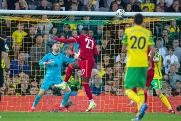 NORWICH, ENGLAND - Tuesday, September 21, 2021: Liverpool's Divock Origi scores the second goal with a header during the Football League Cup 3rd Round match between Norwich City FC and Liverpool FC at Carrow Road. (Pic by David Rawcliffe/Propaganda)