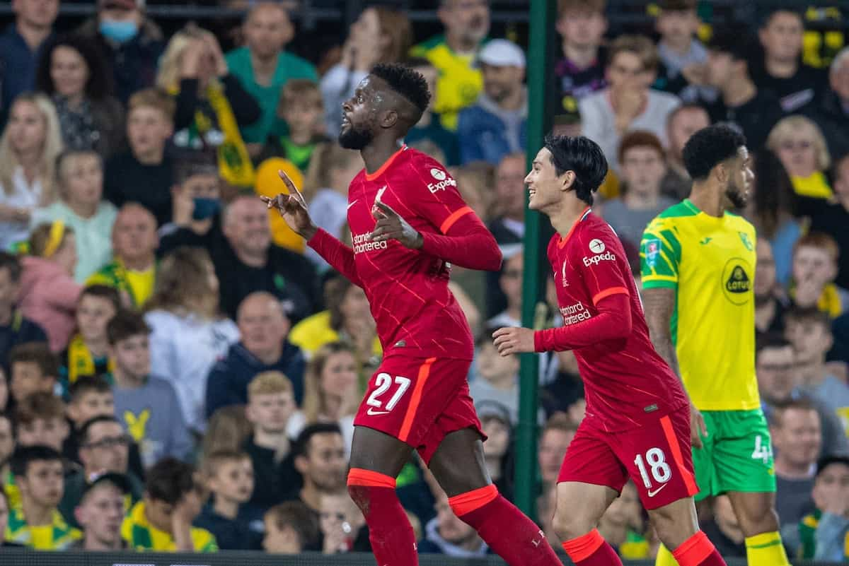 NORWICH, ENGLAND - Tuesday, September 21, 2021: Liverpool's Divock Origi celebrates after scoring the second goal during the Football League Cup 3rd Round match between Norwich City FC and Liverpool FC at Carrow Road. (Pic by David Rawcliffe/Propaganda)