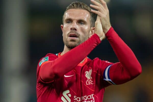 NORWICH, ENGLAND - Tuesday, September 21, 2021: Liverpool's captain Jordan Henderson applauds the travelling supporters after the Football League Cup 3rd Round match between Norwich City FC and Liverpool FC at Carrow Road. Liverpool won 3-0. (Pic by David Rawcliffe/Propaganda)