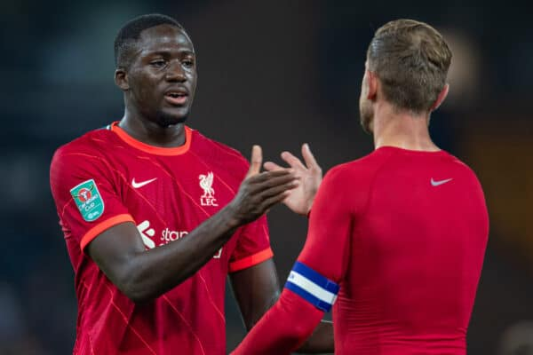 NORWICH, ENGLAND - Tuesday, September 21, 2021: Liverpool's Ibrahima Konaté with captain Jordan Henderson (R) after the Football League Cup 3rd Round match between Norwich City FC and Liverpool FC at Carrow Road. Liverpool won 3-0. (Pic by David Rawcliffe/Propaganda)