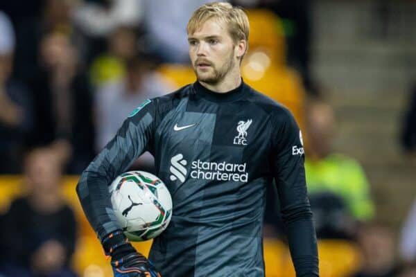 NORWICH, ENGLAND - Tuesday, September 21, 2021: Liverpool's goalkeeper Caoimhin Kelleher during the Football League Cup 3rd Round match between Norwich City FC and Liverpool FC at Carrow Road. (Pic by David Rawcliffe/Propaganda)