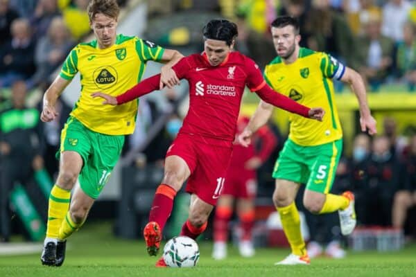 NORWICH, ENGLAND - Tuesday, September 21, 2021: Liverpool's Takumi Minamino during the Football League Cup 3rd Round match between Norwich City FC and Liverpool FC at Carrow Road. (Pic by David Rawcliffe/Propaganda)