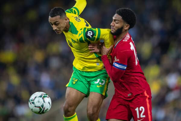 NORWICH, ENGLAND - Tuesday, September 21, 2021: Liverpool's captain Joe Gomez (R) and Norwich City's Adam Idah during the Football League Cup 3rd Round match between Norwich City FC and Liverpool FC at Carrow Road. (Pic by David Rawcliffe/Propaganda)