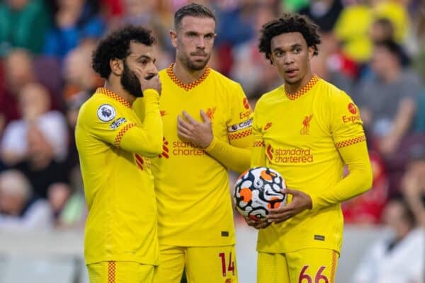 LONDON, ENGLAND - Saturday, September 25, 2021: Liverpool's Mohamed Salah, captain Jordan Henderson and Trent Alexander-Arnold prepare for a free-kick during the FA Premier League match between Brentford FC and Liverpool FC at the Brentford Community Stadium. (Pic by David Rawcliffe/Propaganda)
