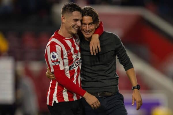 LONDON, ENGLAND - Saturday, September 25, 2021: Brentford's manager Thomas Frank (R) with Sergi Canós (L) after the FA Premier League match between Brentford FC and Liverpool FC at the Brentford Community Stadium. The game ended in a 3-3 draw. (Pic by David Rawcliffe/Propaganda)