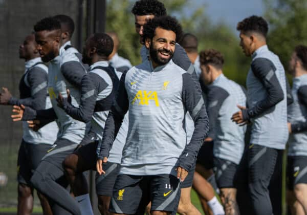 LIVERPOOL, ENGLAND - Monday, September 27, 2021: Liverpool's Mohamed Salah during a training session at the AXA Training Centre ahead of the UEFA Champions League Group B Matchday 2 game between FC Porto and Liverpool FC. (Pic by David Rawcliffe/Propaganda)
