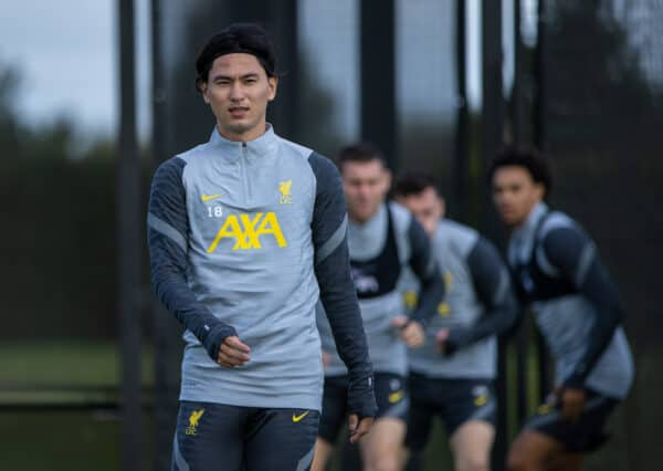 LIVERPOOL, ENGLAND - Monday, September 27, 2021: Liverpool's Takumi Minamino during a training session at the AXA Training Centre ahead of the UEFA Champions League Group B Matchday 2 game between FC Porto and Liverpool FC. (Pic by David Rawcliffe/Propaganda)