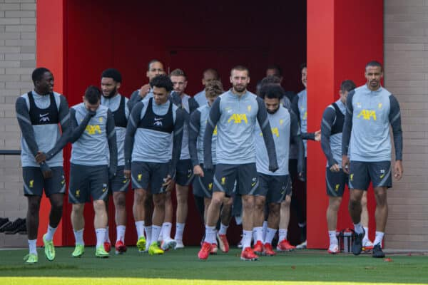 LIVERPOOL, ENGLAND - Monday, September 27, 2021: Liverpool players walk out before a training session at the AXA Training Centre ahead of the UEFA Champions League Group B Matchday 2 game between FC Porto and Liverpool FC. (Pic by David Rawcliffe/Propaganda)
