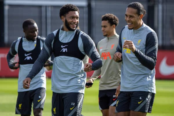 LIVERPOOL, ENGLAND - Monday, September 27, 2021: Liverpool's Joe Gomez (L) and Virgil van Dijk during a training session at the AXA Training Centre ahead of the UEFA Champions League Group B Matchday 2 game between FC Porto and Liverpool FC. (Pic by David Rawcliffe/Propaganda)
