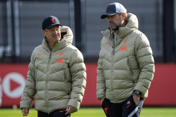 LIVERPOOL, ENGLAND - Monday, September 27, 2021: Liverpool's manager Jürgen Klopp (R) and Dr Andreas Schlumberger during a training session at the AXA Training Centre ahead of the UEFA Champions League Group B Matchday 2 game between FC Porto and Liverpool FC. (Pic by David Rawcliffe/Propaganda)