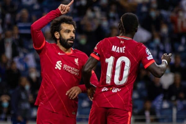 PORTO, PORTUGAL - Tuesday, September 28, 2021: Liverpool's Mohamed Salah celebrates after scoring the first goal during the UEFA Champions League Group B Matchday 2 game between FC Porto and Liverpool FC at the Estádio do Dragão. (Pic by David Rawcliffe/Propaganda)