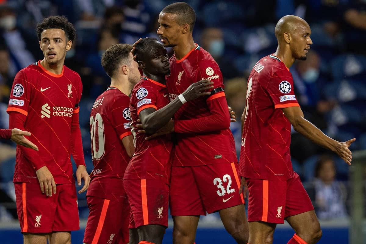 PORTO, PORTUGAL - Tuesday, September 28, 2021: Liverpool's Said Mané (C) celebrates with team-mate Joel Matip (R) after scoring the second goal during the UEFA Champions League Group B Matchday 2 game between FC Porto and Liverpool FC at the Estádio do Dragão. (Pic by David Rawcliffe/Propaganda)