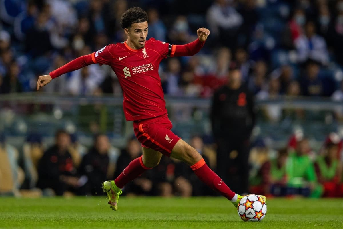 PORTO, PORTUGAL - Tuesday, September 28, 2021: Liverpool's Curtis Jones during the UEFA Champions League Group B Matchday 2 game between FC Porto and Liverpool FC at the Estádio do Dragão. (Pic by David Rawcliffe/Propaganda)
