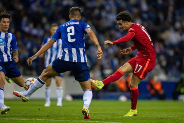 PORTO, PORTUGAL - Tuesday, September 28, 2021: Liverpool's Curtis Jones shoots during the UEFA Champions League Group B Matchday 2 game between FC Porto and Liverpool FC at the Estádio do Dragão. (Pic by David Rawcliffe/Propaganda)