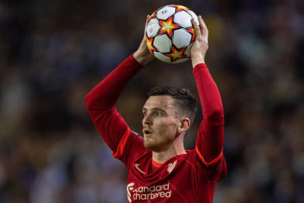 PORTO, PORTUGAL - Tuesday, September 28, 2021: Liverpool's Andy Robertson takes a throw-in during the UEFA Champions League Group B Matchday 2 game between FC Porto and Liverpool FC at the Estádio do Dragão. (Pic by David Rawcliffe/Propaganda)