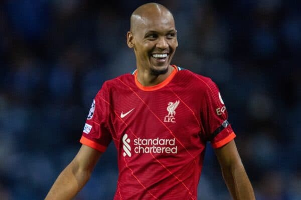 PORTO, PORTUGAL - Tuesday, September 28, 2021: Liverpool's Fabio Henrique Tavares 'Fabinho' during the UEFA Champions League Group B Matchday 2 game between FC Porto and Liverpool FC at the Estádio do Dragão. (Pic by David Rawcliffe/Propaganda)