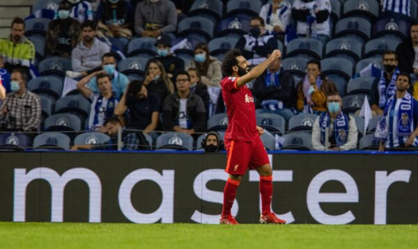 PORTO, PORTUGAL - Tuesday, September 28, 2021: The master... Liverpool's Mohamed Salah celebrates after scoring the third goal, his second of the game, during the UEFA Champions League Group B Matchday 2 game between FC Porto and Liverpool FC at the Estádio do Dragão. (Pic by David Rawcliffe/Propaganda)