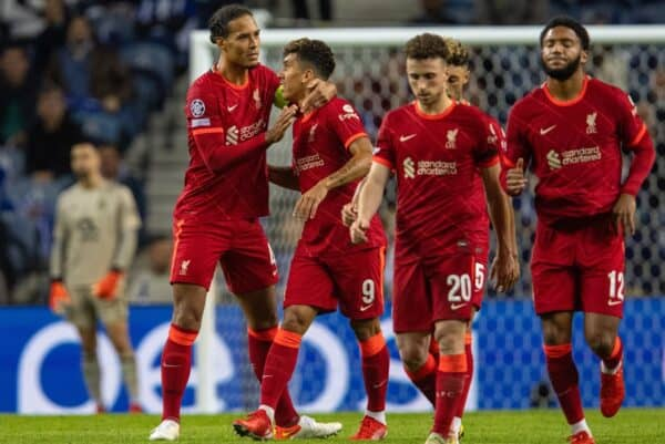 PORTO, PORTUGAL - Tuesday, September 28, 2021: Liverpool's Roberto Firmino (R) celebrates with team-mate Virgil van Dijk after scoring the fourth goal during the UEFA Champions League Group B Matchday 2 game between FC Porto and Liverpool FC at the Estádio do Dragão. (Pic by David Rawcliffe/Propaganda)