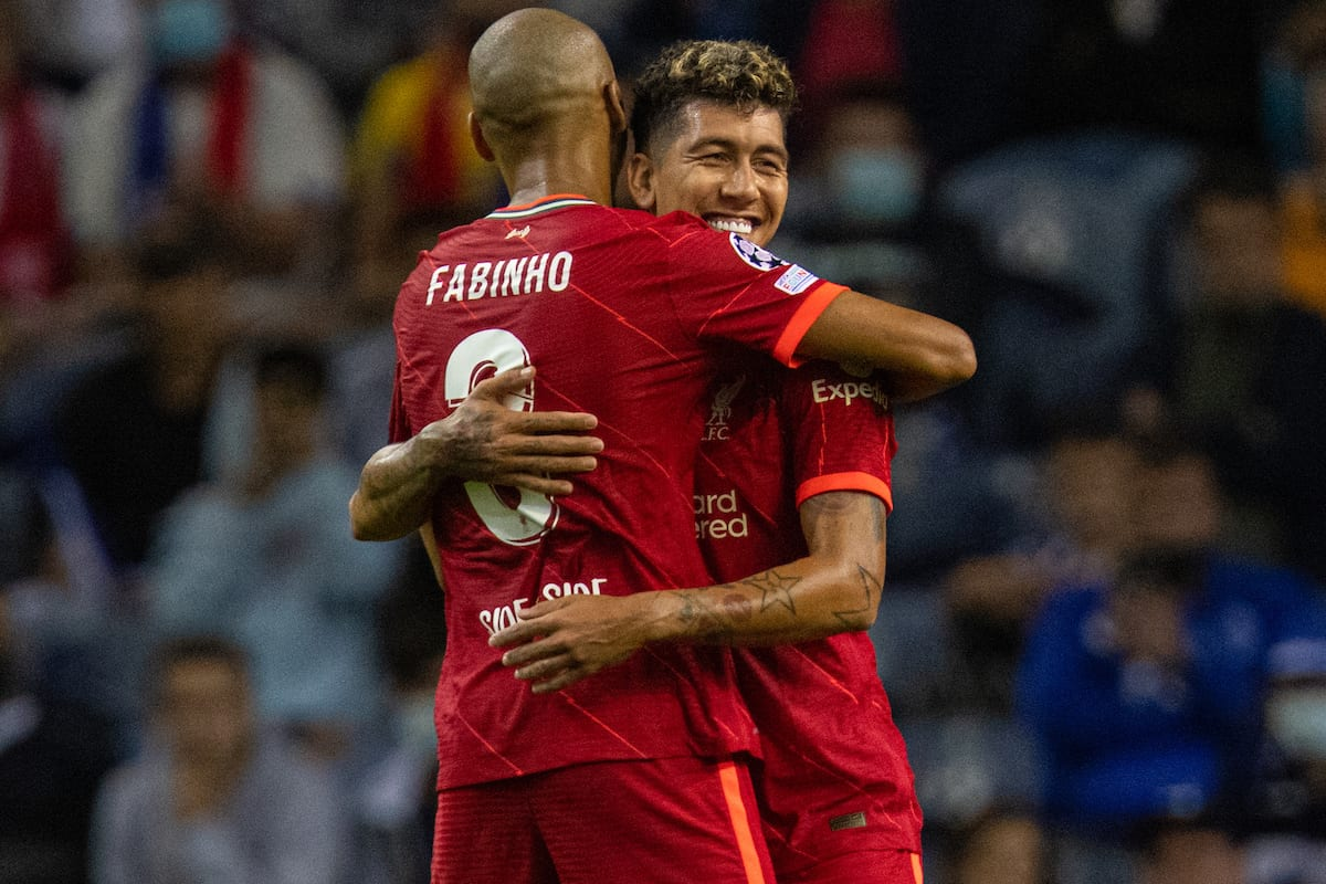 PORTO, PORTUGAL - Tuesday, September 28, 2021: Liverpool's Roberto Firmino celebrates after scoring the fifth goal, his second of the game, with team-mate Fabio Henrique Tavares 'Fabinho' (L) during the UEFA Champions League Group B Matchday 2 game between FC Porto and Liverpool FC at the Estádio do Dragão. (Pic by David Rawcliffe/Propaganda)