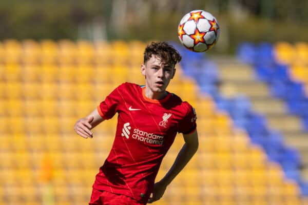 PORTO, PORTUGAL - Tuesday September 28, 2021: Conor Bradley of Liverpool during the UEFA Youth League Group B Matchday 2 match between FC Porto Under-19 and Liverpool FC Under-19 at Vila Stadium Nova of Gaia.  (Photo by David Rawcliffe / Propaganda)