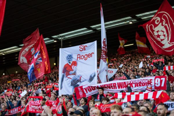 LIVERPOOL, ENGLAND - Sunday 3rd October 2021: Liverpool trailer banner for Sir Roger Hunt on the Spy Kop before the FA Premier League game between Liverpool FC and Manchester City FC at Anfield.  (Image by David Rawcliffe / Propaganda)