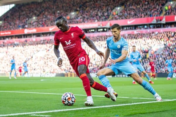 LIVERPOOL, ENGLAND - Sunday, October 3, 2021: Liverpool's Sadio Mané during the FA Premier League match between Liverpool FC and Manchester City FC at Anfield. (Pic by David Rawcliffe/Propaganda)