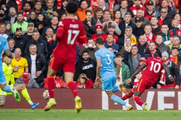 LIVERPOOL, ENGLAND - Sunday, October 3, 2021: Liverpool's Sadio Mané scores the first goal during the FA Premier League match between Liverpool FC and Manchester City FC at Anfield. (Pic by David Rawcliffe/Propaganda)