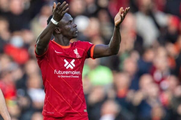 LIVERPOOL, ENGLAND - Sunday, October 3, 2021: Liverpool's Sadio Mané celebrates after scoring the first goal during the FA Premier League match between Liverpool FC and Manchester City FC at Anfield. (Pic by David Rawcliffe/Propaganda)