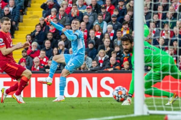 LIVERPOOL, ENGLAND - Sunday, October 3, 2021: Manchester City's Phil Foden scores the first equalising goal during the FA Premier League match between Liverpool FC and Manchester City FC at Anfield. (Pic by David Rawcliffe/Propaganda)