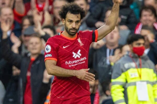 LIVERPOOL, ENGLAND - Sunday, October 3, 2021: Liverpool's Mohamed Salah celebrates after scoring the second goal during the FA Premier League match between Liverpool FC and Manchester City FC at Anfield. (Pic by David Rawcliffe/Propaganda)