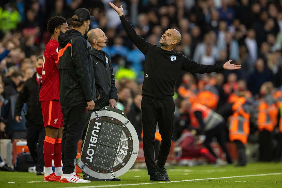 LIVERPOOL, ENGLAND - Sunday, October 3, 2021: Manchester City's manager Josep 'Pep' Guardiola reacts during the FA Premier League match between Liverpool FC and Manchester City FC at Anfield. (Pic by David Rawcliffe/Propaganda)
