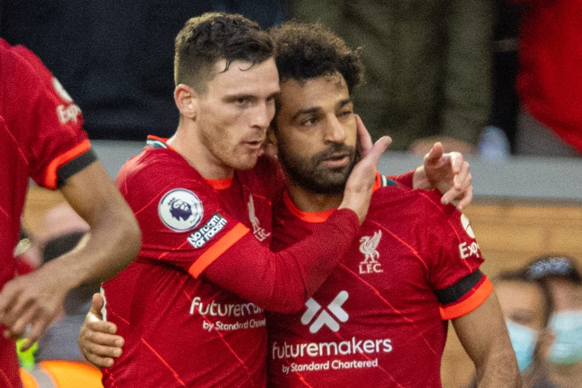 LIVERPOOL, ENGLAND - Sunday, October 3, 2021: Liverpool's Mohamed Salah (R) celebrates with team-mate Andy Robertson after scoring the second goal during the FA Premier League match between Liverpool FC and Manchester City FC at Anfield. (Pic by David Rawcliffe/Propaganda)
