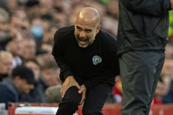 LIVERPOOL, ENGLAND - Sunday, October 3, 2021: Manchester City's manager Josep 'Pep' Guardiola during the FA Premier League match between Liverpool FC and Manchester City FC at Anfield. (Pic by David Rawcliffe/Propaganda)