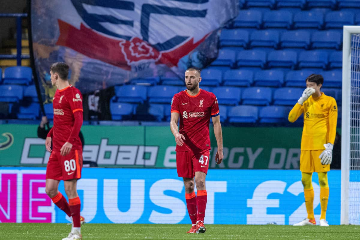 BOLTON, ENGLAND - Tuesday, October 5, 2021: Liverpool's Nathaniel Phillips (C) looks dejected as Bolton Wanderers score a second goal during the English Football League Trophy match between Bolton Wanderers FC and Liverpool FC Under-21's at the Reebok Stadium. (Pic by David Rawcliffe/Propaganda)