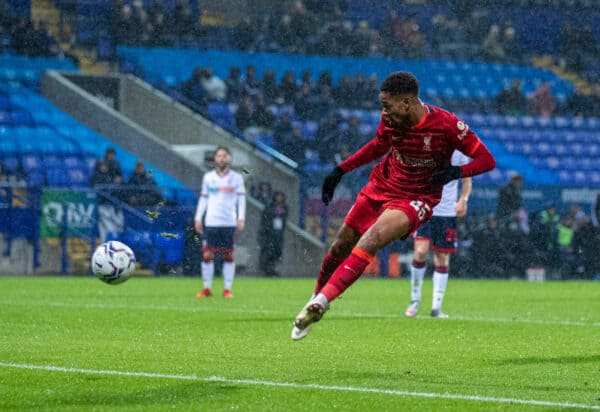 BOLTON, ENGLAND - Tuesday, October 5, 2021: Liverpool's Elijah Dixon-Bonner sees his shot saved during the English Football League Trophy match between Bolton Wanderers FC and Liverpool FC Under-21's at the Reebok Stadium. (Pic by David Rawcliffe/Propaganda)