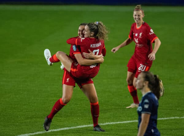 BIRKENHEAD, ENGLAND - Wednesday, October 13, 2021: Liverpool's Leanne Kiernan (R) celebrates with team-mate captain Jasmine Matthews after scoring the equalising goal to make the score 1-1 during the FA Women's League Cup match between Liverpool FC Women and Aston Villa FC Women at Prenton Park. (Pic by David Rawcliffe/Propaganda)