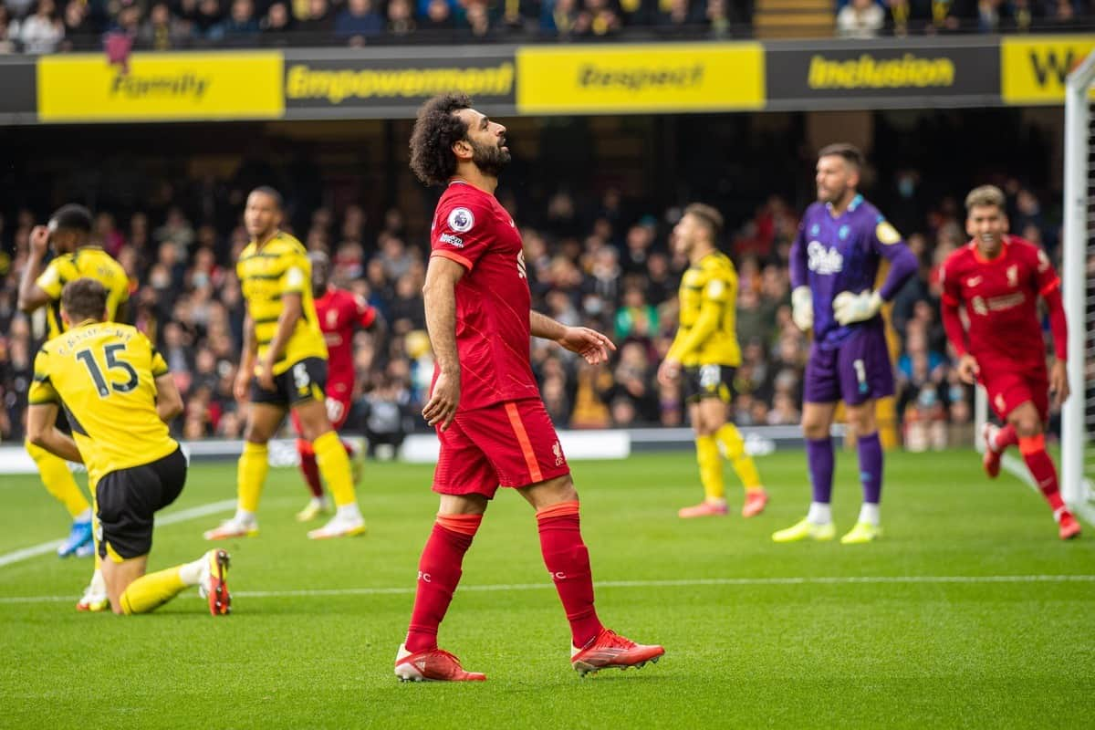 WATFORD, ENGLAND - Saturday, October 16, 2021: Liverpool's Mohamed Salah celebrates after scoring the fourth goal, the eighth consecutive game he's scored in, during the FA Premier League match between Watford FC and Liverpool FC at Vicarage Road. (Pic by David Rawcliffe/Propaganda)