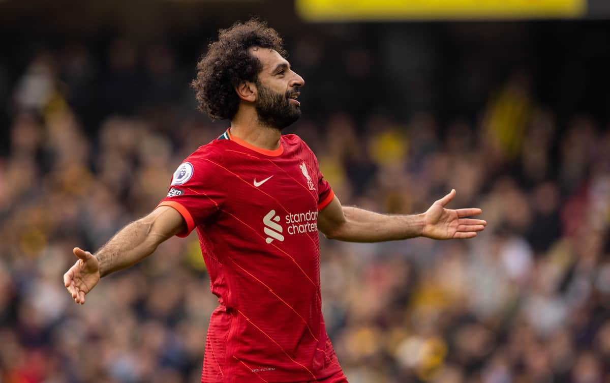 WATFORDF, ENGLAND - Saturday, October 16, 2021: Liverpool's Mohamed Salah celebrates after scoring the fourth goal, the eighth consecutive game he's scored in, during the FA Premier League match between Watford FC and Liverpool FC at Vicarage Road. (Pic by David Rawcliffe/Propaganda)
