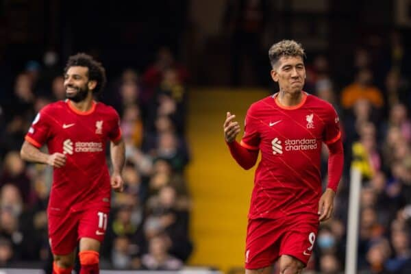 Liverpool's Roberto Firmino celebrates after scoring the third goal, his second of the game, during the FA Premier League match between Watford FC and Liverpool FC at Vicarage Road. (Pic by David Rawcliffe/Propaganda)