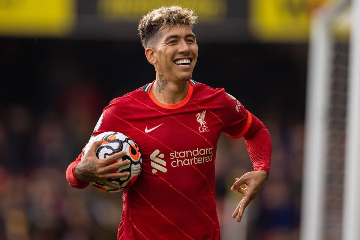 WATFORDF, ENGLAND - Saturday, October 16, 2021: Liverpool's Roberto Firmino celebrates after scoring the fifth goal, his third completing his hat-trick, during the FA Premier League match between Watford FC and Liverpool FC at Vicarage Road. (Pic by David Rawcliffe/Propaganda)