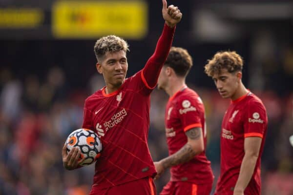 WATFORDF, ENGLAND - Saturday, October 16, 2021: Liverpool's Roberto Firmino celebrates with the match-ball at the end of the game, his last kick of the game was a the fifth goal, his third completing his hat-trick, during the FA Premier League match between Watford FC and Liverpool FC at Vicarage Road. (Pic by David Rawcliffe/Propaganda)