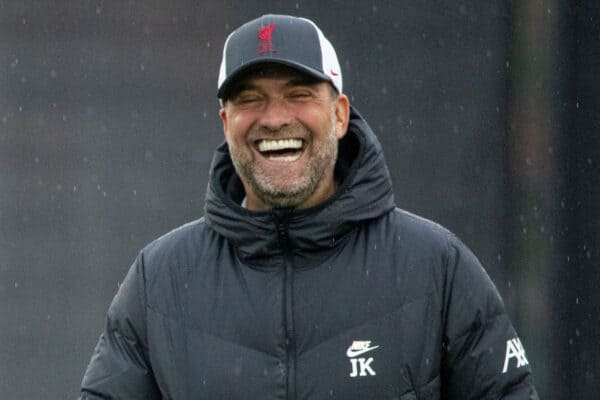 Liverpool's manager Jürgen Klopp laughs during a training session at the AXA Training Centre ahead of the UEFA Champions League Group B Matchday 3 game between Club Atlético de Madrid and Liverpool FC. (Pic by David Rawcliffe/Propaganda)