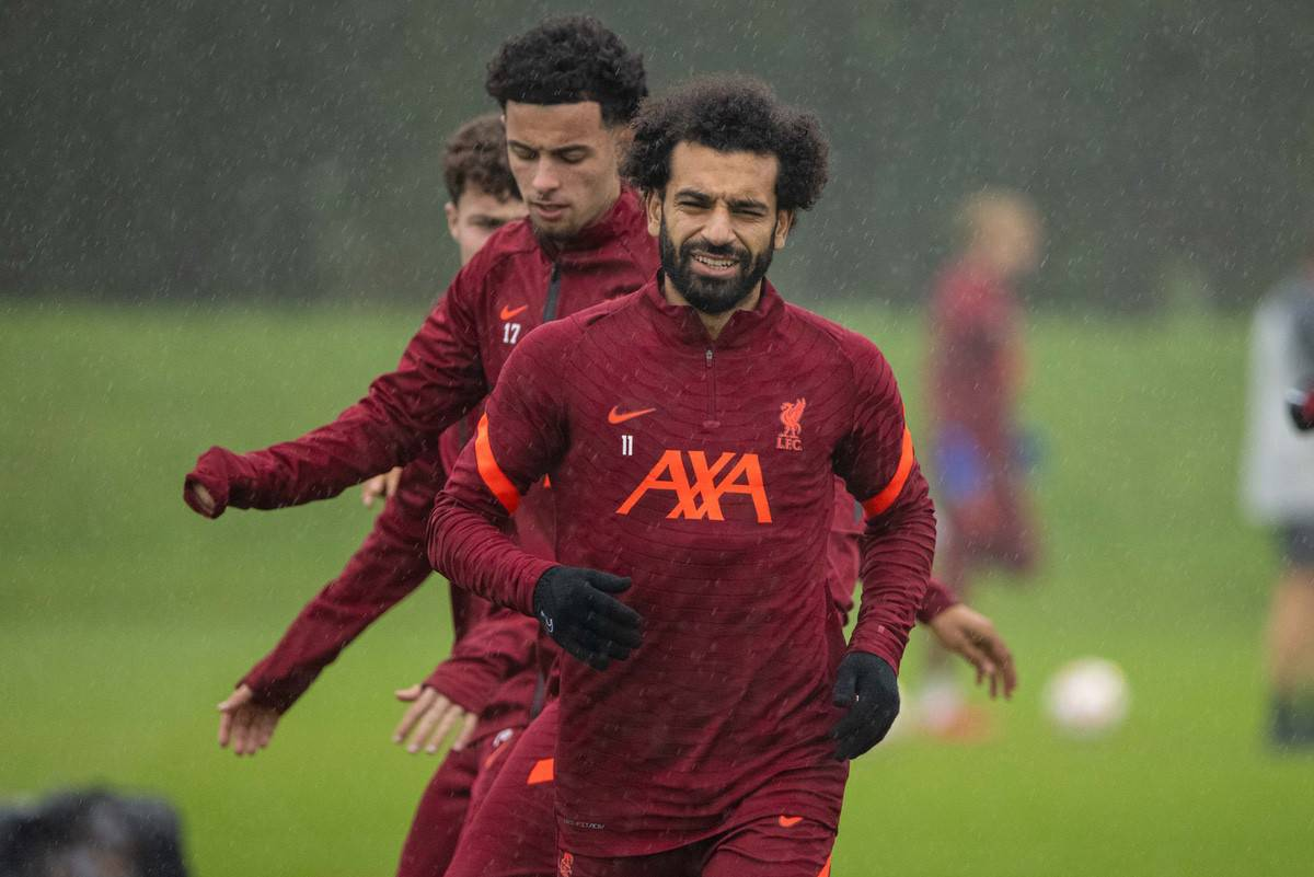 LIVERPOOL, ENGLAND - Monday, October 18, 2021: Liverpool's Mohamed Salah during a training session at the AXA Training Centre ahead of the UEFA Champions League Group B Matchday 3 game between Club Atlético de Madrid and Liverpool FC. (Pic by David Rawcliffe/Propaganda)