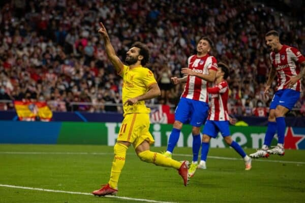 MADRID, SPAIN - Tuesday, October 19, 2021: Liverpool's Mohamed Salah celebrates after scoring the third goal, from a penalty-kick, to makes the score 2-3 during the UEFA Champions League Group B Matchday 3 game between Club Atlético de Madrid and Liverpool FC at the Estadio Metropolitano. (Pic by David Rawcliffe/Propaganda)