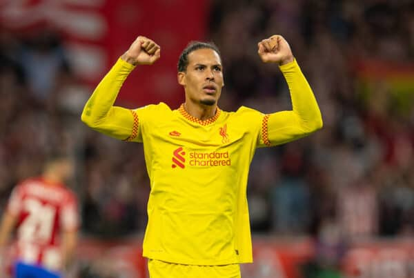MADRID, SPAIN - Tuesday, October 19, 2021: Liverpool's Virgil van Dijk celebrates after his side's 3-2 victory during the UEFA Champions League Group B Matchday 3 game between Club Atlético de Madrid and Liverpool FC at the Estadio Metropolitano. (Pic by David Rawcliffe/Propaganda)