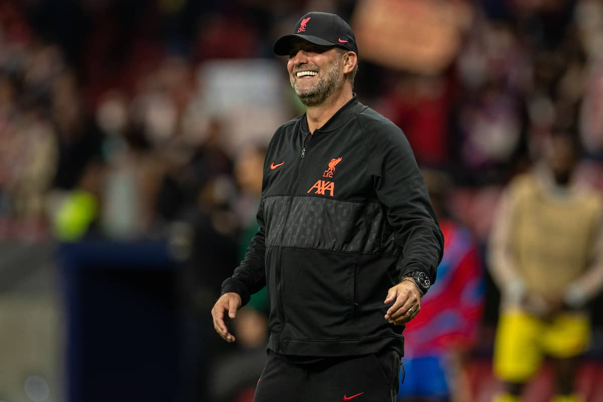 MADRID, SPAIN - Tuesday, October 19, 2021: Liverpool's manager Jürgen Klopp is all smiles after the 3-2 victory during the UEFA Champions League Group B Matchday 3 game between Club Atlético de Madrid and Liverpool FC at the Estadio Metropolitano. (Pic by David Rawcliffe/Propaganda)
